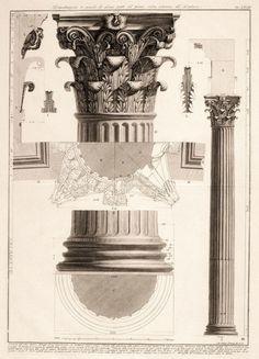 Corinthian column. architectural details.engraving. Giovanni Battista Piranesi, Italian, 1720-1788.