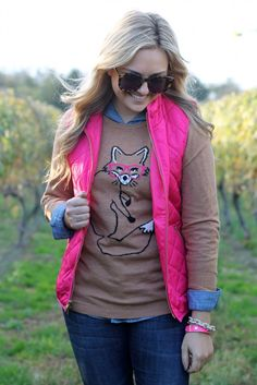 Pink Vest, Fox Sweater, Chambray Shirt, Jeans