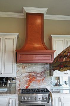 Copper Metallic Paint on Range Hood | Project by Sylvia T Designs