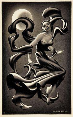 Art by Hannes Bok bok woman, 1949, illustrations, danc illustr, art, woman danc, stori illustr, hann bok, hannes bok