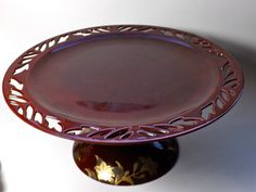 Occupied Japan Lacquer Ware Pedestal Cake Stand with by borahstyle, $42.00
