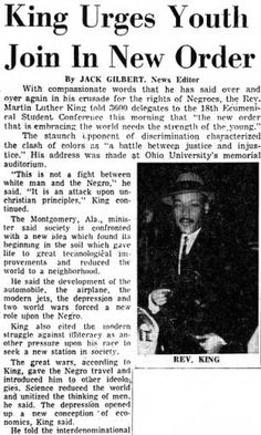 Martin Luther King, Jr. Urges Youth Join in New Order Newspaper Article, Athens Messenger, Dec 30, 1959. :: Ohio Memory Collection. Martin Luther King, Jr. Visit Materials, RG 007. :: Ohio University Archives
