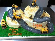 birthday parti, vehicl cake, food, dump truck cake
