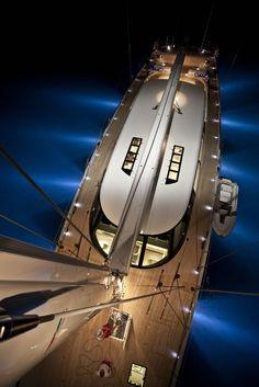 Luxury sailing yacht.  Great down shot!