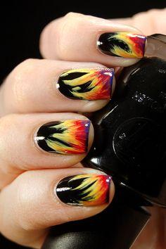 fire nail, catching fire, bonfir night, nail designs, nail art designs, hot nail, nail arts, bonfir nail, night nail