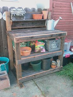 Potting Bench, recycled lumber by palustrine, via Flickr