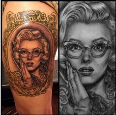 Marilyn Monroe from How To Marry a Milionaire Portrait done by Pablo Aponte, work done at Low Rider Tattoo, CA Frame Done by Jasmine Wright, work done at Buju Tattoo, CA