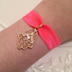 Hot Neon Fluorescent Pink Foe Elastic Arm Candy Rose Gold Hamsa Hand of Fatima Hair Tie Wish Bracelet