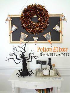 potion label, halloween decor, banner diy, garland banner, diy craft, garlands, label garland, decor idea, banners