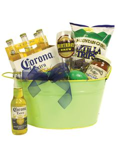 a #Guys #Gift basket. beer. mug. chips. salsa.
