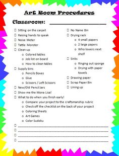 Art Room 104...procedures for first day