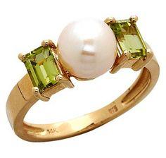 14K Gold Freshwater Pearl  Peridot Ring