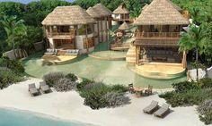 Beach villa in Maldives.