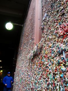 """Disgusting display of used and dirty chewing gum outside of old theatre at Post Alley in the heart of the """"Sanitary Market"""" may host numerous infectious diseases."""