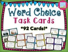 Word Choice Task Cards { 92 Common Core Language Task Cards } $
