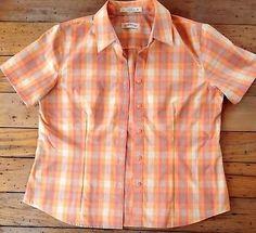 ORVIS Womens Short Sleeve Shirt Orange Green Pink Plaid Cotton Carefree Size 12