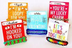 Rainbow Loom Themed Valentines - Printable PDF  - Attach Rainbow Loom Bracelets