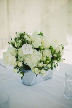 DIY Centerpieces in Galvanized Tubs | Hydrangea, Garden & Spray Roses from Flower Muse | Hand-stamped Table Numbers | Lace Ribbon