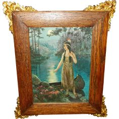 Native American Indian Maiden in Moonlight by F.R. Harper - Ornate Frame