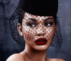 40's inspiration... Veil, cat-eye, red lips.