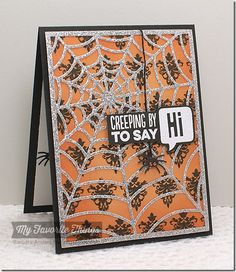 Damask Designs, Spooky Sentiments, Centerpieces Spooky Window Die-namics, Spider Web Cover-Up Die-namics - Barbara Anders #mftstamps