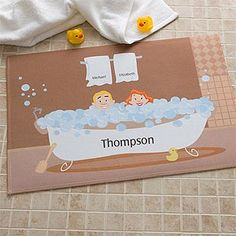 Bathtub Couple Characters Collection Personalized Mat