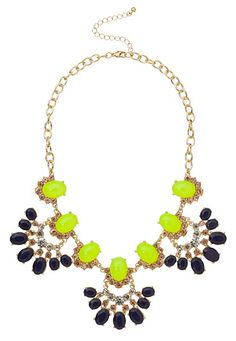 rhinestone and gem fan statement necklace (original price, $24) available at #Maurices