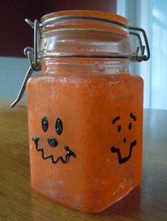 Halloween crafts; pumpkin candy jar