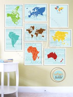 World Map Art for Nursery, Travel List and Continents, Set of Eight, 8.5X11 Inches, Playroom decor, Baby Gift, Nursery Decor. $58.00, via Etsy.