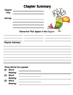 book report organizer worksheets