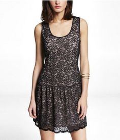 LACE DROP WAIST FIT AND FLARE DRESS   Express