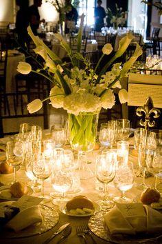 Calla, tulip, orchid, and hydrangea centerpiece