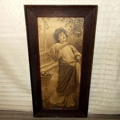 Vintage Sepia Framed Print of Lady Gathering Fruit from madgelee on Ruby Lane