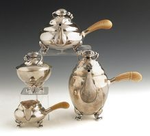 Georg Jensen blossom pattern silver 4-piece tea & coffee service sterling denmark