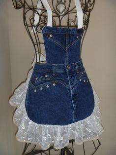 Denim Aprons - by Redneck Girl Aprons - Rocky jeans with metal studs, blinged lace with tiny crocheted edging, detachable bib #Denim #Apron #Crafts - LOVE this (and she has more) †å  (would make a great gift too!)