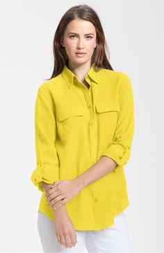 ((simple yellow silk shirt))