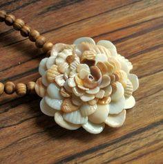 Seashell Jewelry Seashell Flower Pendant Necklace