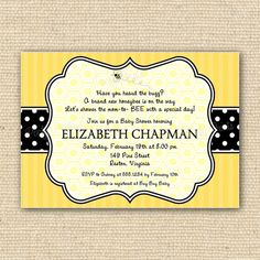 bumbl bee, babe shower, bee babi, bee invitations, shower invitations
