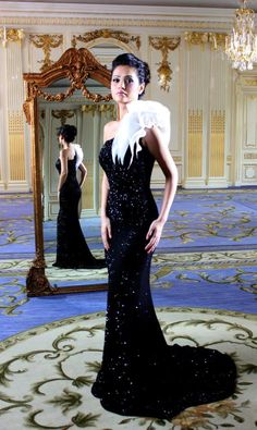 Black-and-White Evening Gown #black and white #black and white fashions #black and white women's fashions #black and white couture #white and black couture