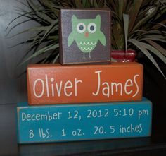 BABY BIRTH Announcement PERSONALIZED Name Measurements Girls Boys Kids Children Owl and More Primitive Wood Blocks Sign. $31.95, via Etsy.