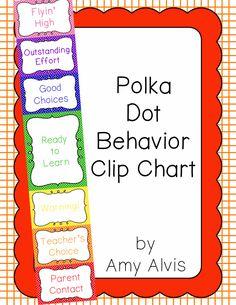 Behavior Clip Chart - Behavior Management - POLKA DOTS, $