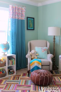This mom bought window panels from @Target and sewed fabric to the top for a pop of pattern! #DIY #nursery
