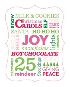 FREE download: This Christmas printable would look great in a holiday-themed frame (try gluing mini candy canes or red and green glitter to one you own!). http://www.parents.com/holiday/holiday-decorative-printables/?socsrc=pmmpin113012HnCChristmasPrintable