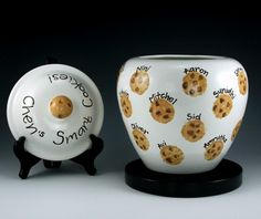 Handmade Cookie Jar - Cookies could be printed with sponge and chips are fingerprints.  Could pair with matching aprons.