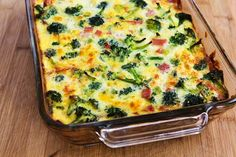 Recipe for Broccoli, Ham, and Mozzarella Baked with Eggs from Kalyn's Kitchen