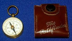 1 DAY AUCTION - Vintage Brass Pathfinder Navigational Pocket Compass in Original Leather Case