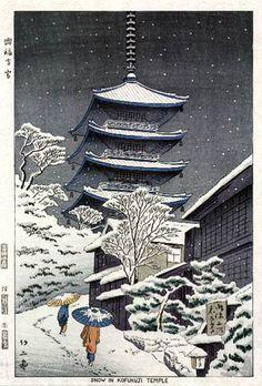 Snow at Kofukuji Temple  by Takeji Asano, 1953