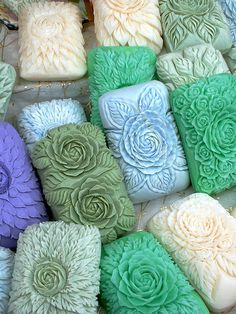 very nice soap carvings in different colors.