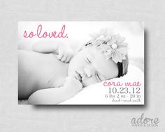 "Modern ""So Loved"" Baby Birth Announcement - Printable Digital File- CHOOSE YOUR COLORS"