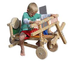 Cool gifts for a 7-year-old: Woodmobiel building toy. Like life-size Tinkertoys!
